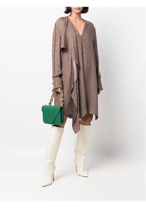 Brown silk monogram-pattern long-sleeve dress  FENDI |  | FDB919-AGUBF1EPS
