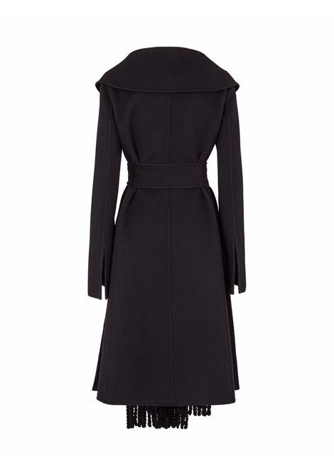 Cappotto nero effetto sciarpa in lana e seta con frange FENDI | Cappotti | FF8835-A5HDF1FL8