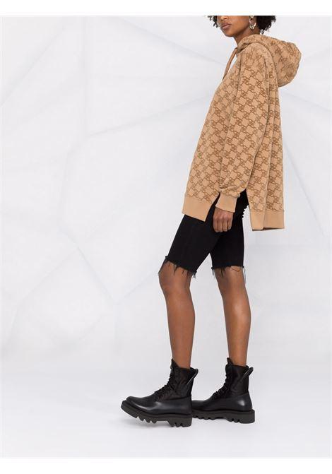 Felpa in cotone color crema con cappuccio in jersey felpato FENDI | Felpe | FS7263-AGU7F1ENR