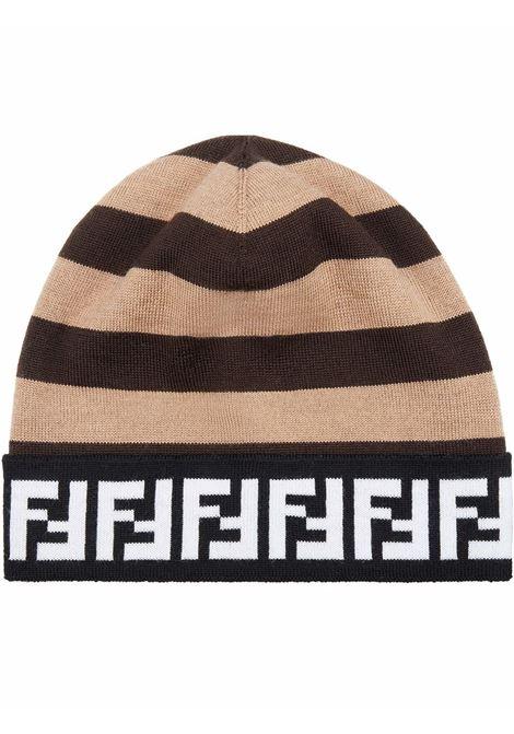 Berretto in lana beige e nero con motivo FF con riga Pequin FENDI | Cappelli | FXQ056-AH84F1C2N