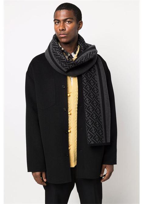 Grey and black silk and wool FF-motif knitted 30x180 scarf FENDI |  | FXS124-AH7PF0UY7