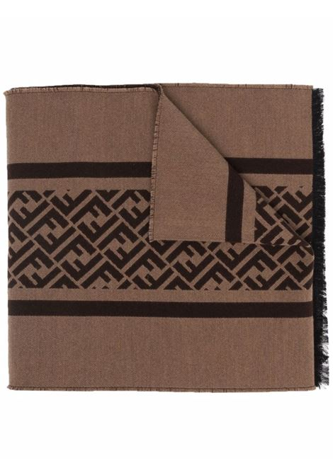 Brown and black wool and silk FF-motif knitted scarf  FENDI |  | FXS124-AH7PF15B6
