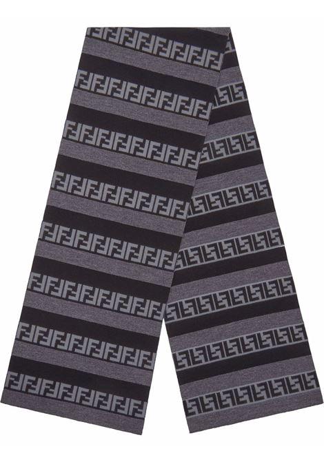 Sciarpa a righe Pequin in lana grigia e nera con motivo FF Fendi FENDI | Sciarpe e foulards | FXS124-AH84F13C0