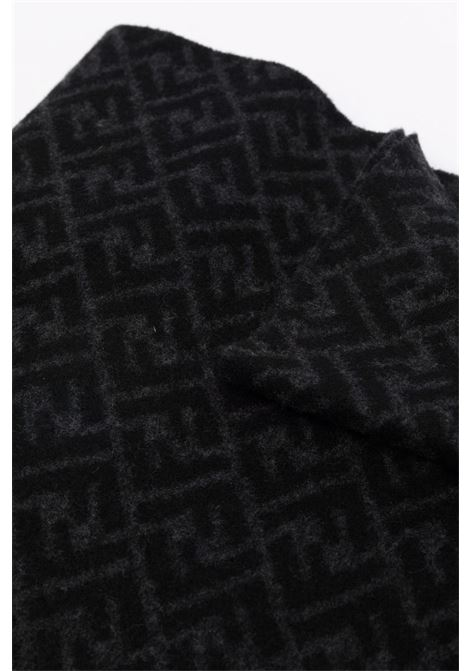 Black and grey cashmere and virgin wool scarf FENDI |  | FXS124-AH85F0UY7