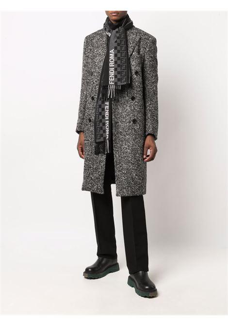 Black and grey wool FF Fendi pattern fringed scarf  FENDI |  | FXS124-AH8AF1ALY
