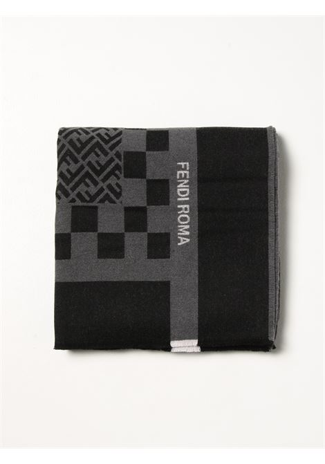Black and grey wool scarf featuring FF and check pattern print  FENDI |  | FXS610-AH8AF1ALY