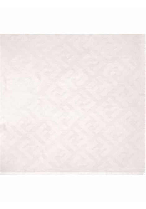 Scialle panna in misto lana e cashmere con logo FF jacquard FENDI | Sciarpe e foulards | FXT069-A669F0QG1