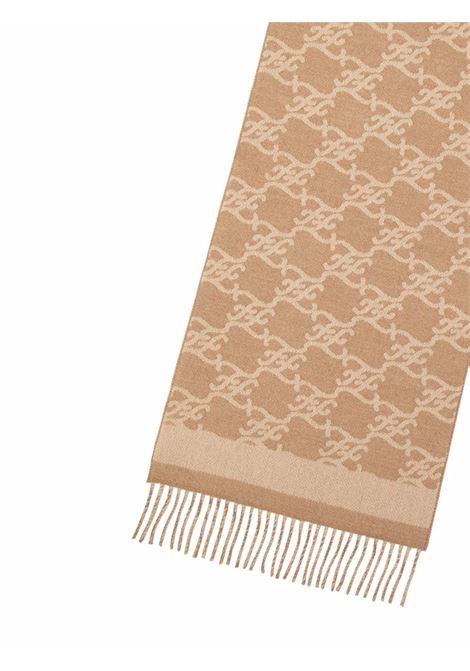 Sciarpa in lana e cashmere beige con logo Karl in jacquard FENDI | Sciarpe e foulards | FXT324-AHRFF0QU5
