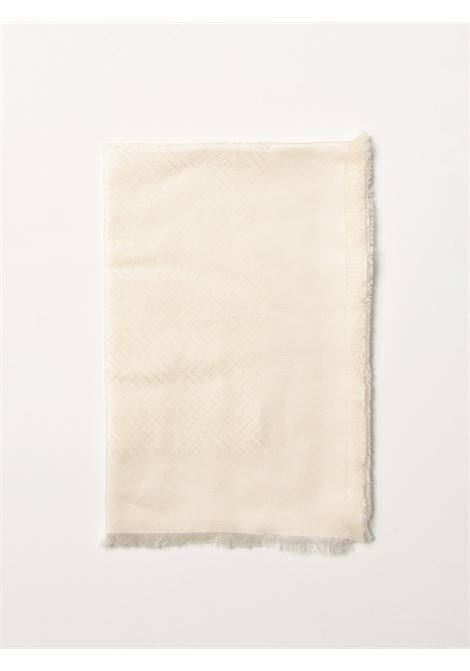 Sciarpa 140x140 cm in lana e seta color panna con logo Fendi Karl FENDI | Sciarpe e foulards | FXT924-9EAF1ENO