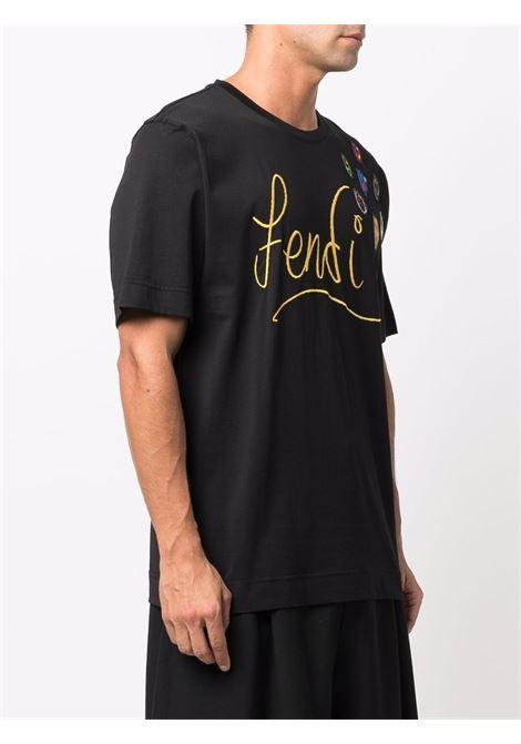 Black  cotton t.shirt Fendi x Noel Fielding embroidered T-shirt  FENDI |  | FY0936-AH13F0748