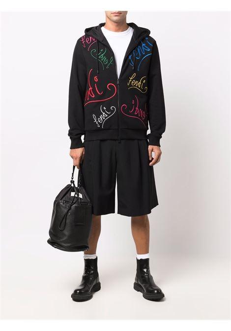Felpa in lana e cotone nera con cappuccio e zip Fendi x Noel Finding FENDI | Felpe | FY0984-AH0WF0BHU