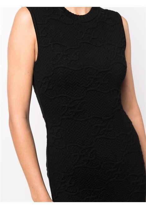mini abito nero smanicato con scollo tondo in lana vergine e cashmere FENDI | Abiti | FZD914-AHE9F0GME
