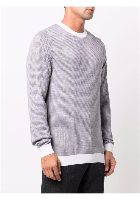 Grey and white virgin wool contrast-trim knitted crew-neck jumper  FENDI |  | FZY078-AH3CF05WL