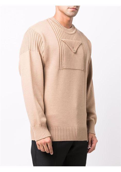 Maglione beige in lana vergine a coste FENDI | Maglieria | FZY483-AH3JF0QB2