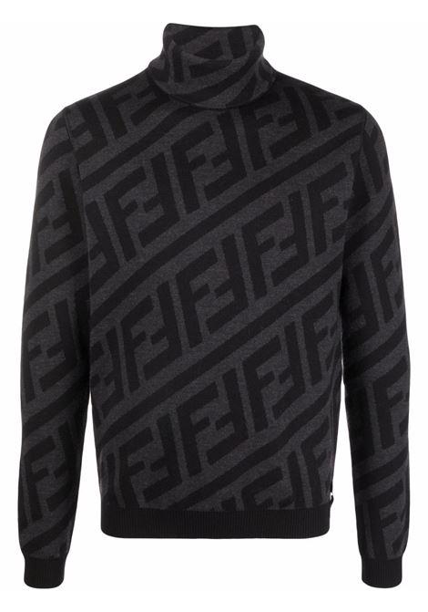 Black and grey virgin wool FF-motif roll-neck jumper  FENDI |  | FZZ466-A4GNF0UY7