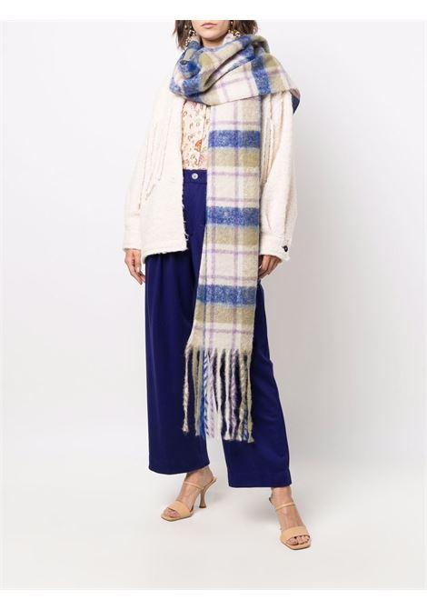 Blue virgin and alpaca wool check-pattern scarf   FORTE_FORTE      8610PIUMA
