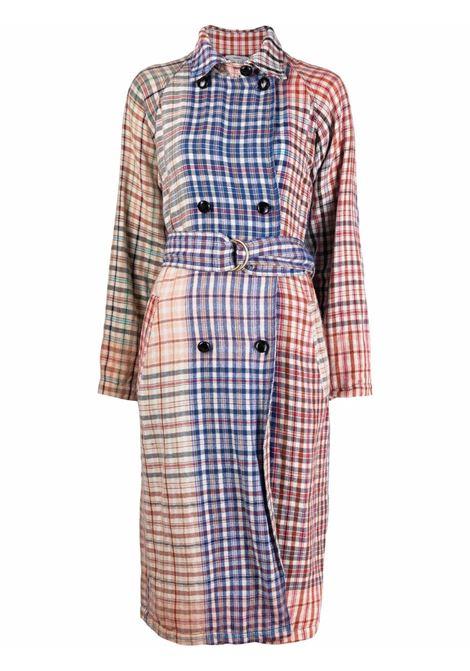 Trench bianco, blu e rosso in misto lino e lana con stampa check FORTE_FORTE | Cappotti | 8616CIRCUS