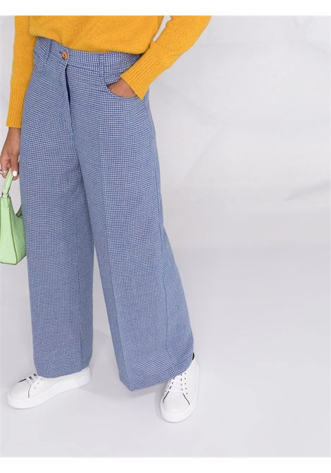 Blue virgin wool blend checked wide-leg trousers  FORTE_FORTE      8638FIORDALISO