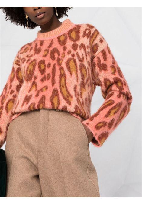 maglione con stampa leopardata arancione e marrone FORTE_FORTE | Maglieria | 8714FUNNY
