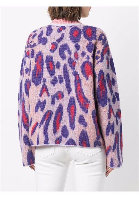 Maglione leopardato in alpaca e lana mohair rosa chiaro e viola FORTE_FORTE | Maglieria | 8714PETTIROSSO