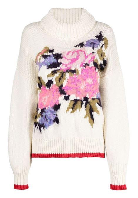 Maglia bianca in lana vergine mohair di alpaca con dettaglio floreale FORTE_FORTE | Maglieria | 8717FUNNY