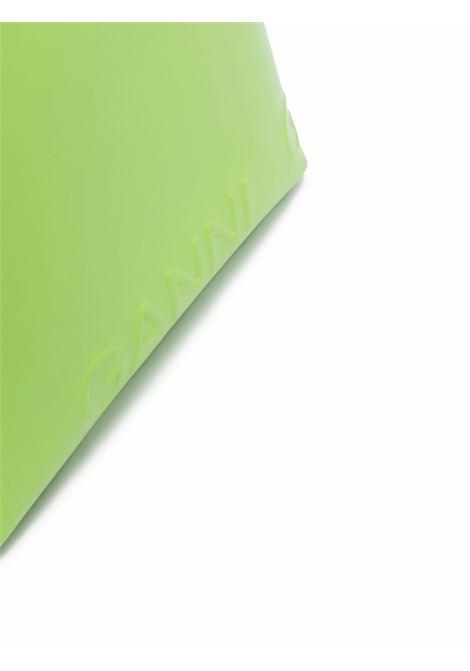Borsa tote con logo Ganni in pelle di vitello e cotone biologico verde GANNI   Borse tote   A3588783