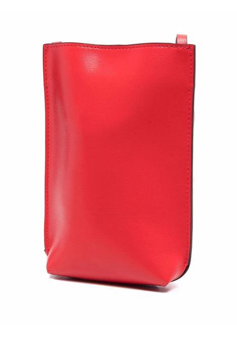 borsa a tracolla in pelle riciclata rossa con logo Ganni in rilievo GANNI | Borse a tracolla | A3592472