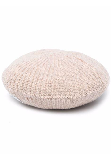 berretto in lana riciclata a coste beige sabbia con logo Ganni GANNI | Cappelli | A3626196