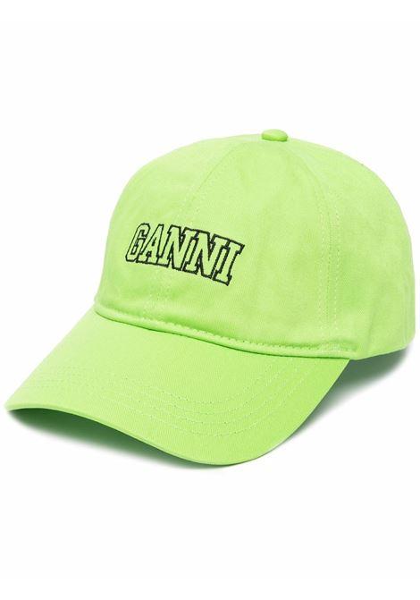 Cappellino verde in cotone biologico con logo Ganni GANNI | Cappelli | A3733783