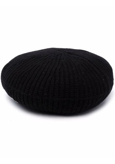 Basco in maglia di lana riciclata a costine nere con logo Ganni GANNI | Cappelli | A3752099