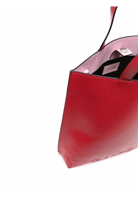 Borsa tote rossa in cotone organico e pelle riciclata con logo Ganni GANNI | Borse tote | A3777472