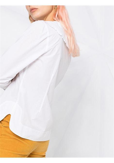 Blusa bianca con collo arricciato in cotone biologico GANNI | Camicie | F5778151