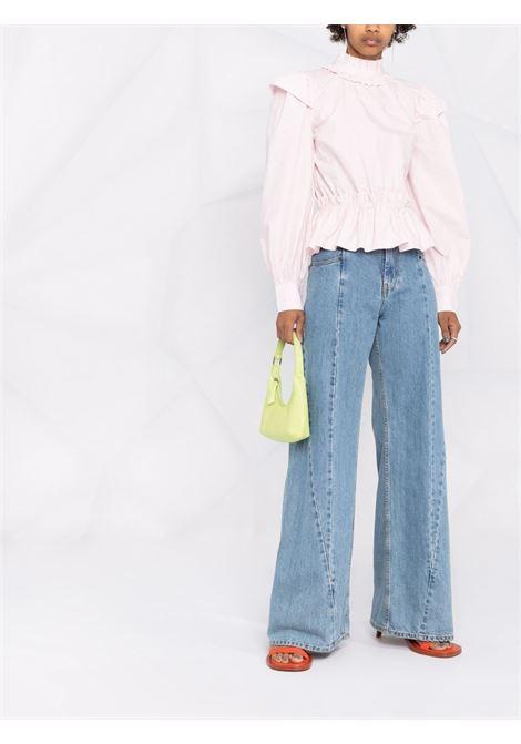 Pale lilac organic cotton ruffled poplin cropped blouse  GANNI |  | F6246500