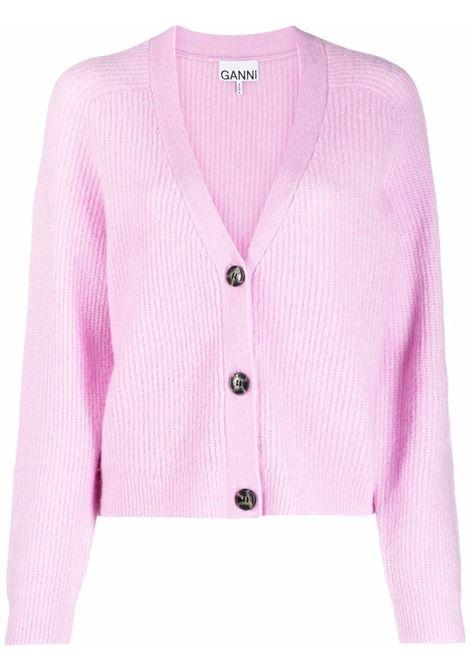 cardigan viola chiaro in lana a coste con scollo a V GANNI | Cardigan | K1549500