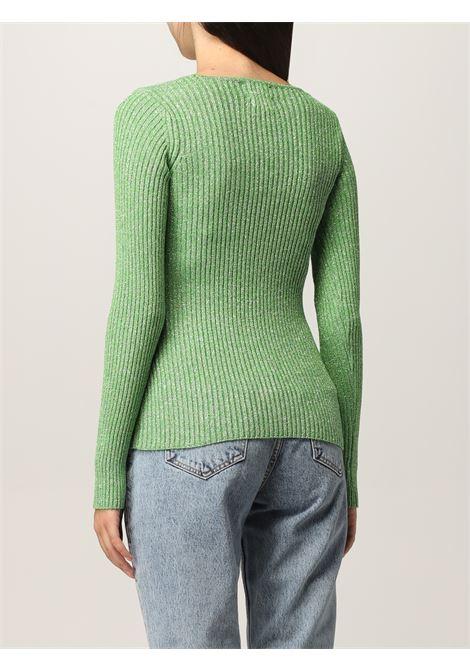 Top in maglia a coste con dettaglio glitter verde GANNI | Maglieria | K1579783