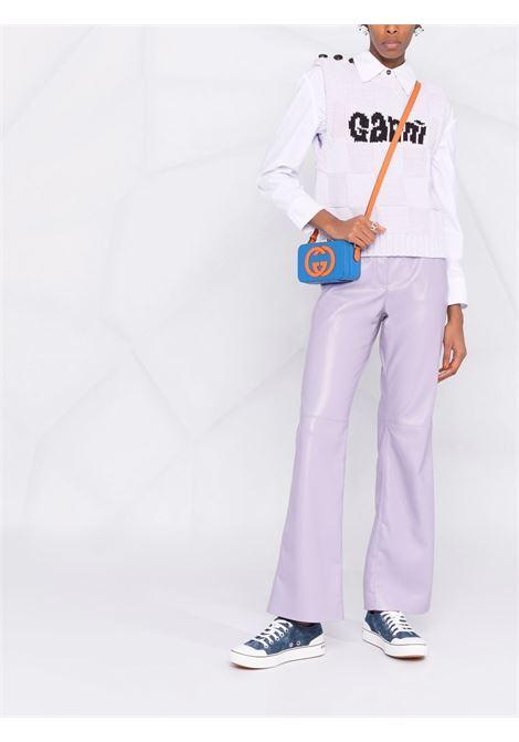 lilac checkerboard knit wool vest featuring black Ganni intarsia-knit logo GANNI      K1598712