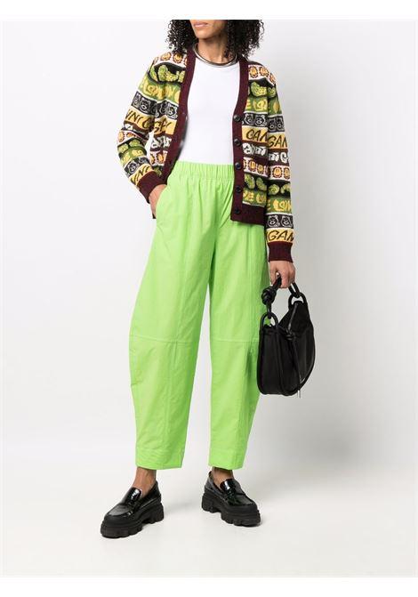 Cardigan in maglia con stampa Smiley multicolore in lana riciclata GANNI | Cardigan | K1600999