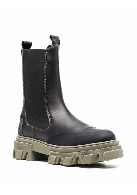 Stivaletti chelsea in pelle nera e verde kaki GANNI | Stivali | S1627791