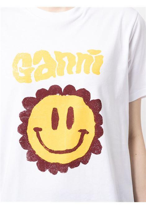 T-shirt bianca Flower Smiley in cotone biologico GANNI | T-shirt | T2868151