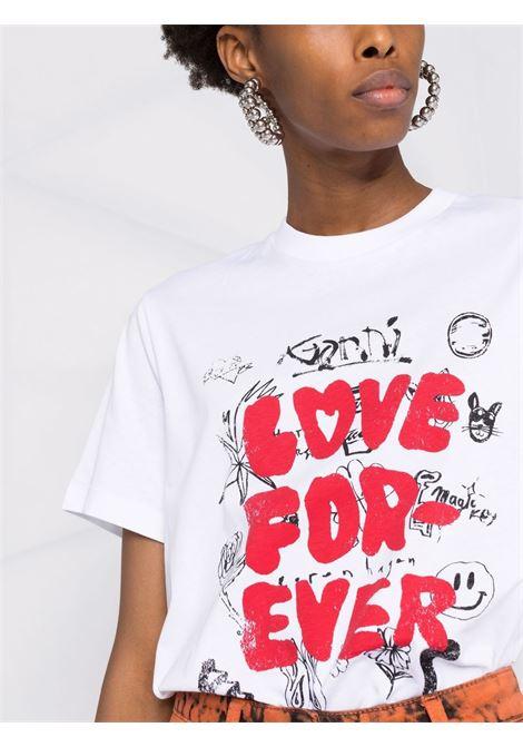 T-shirt bianca in cotone biologico con stampa grafica rossa GANNI | T-shirt | T2869151