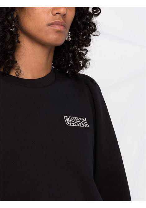 Felpa nera con logo Ganni ricamato in cotone biologico GANNI | Felpe | T2965099
