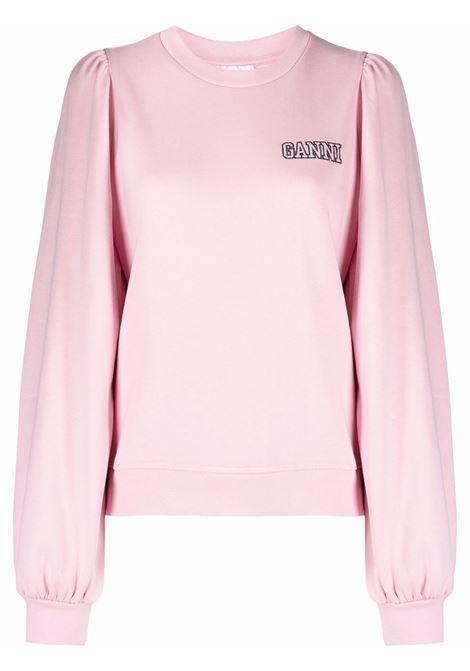 Felpa rosa con maniche a sbuffo in cotone biologico GANNI | Felpe | T2965465