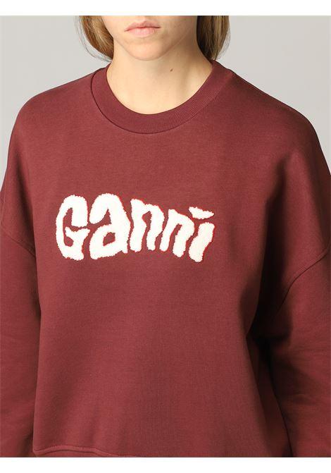 Felpa rosso Merlot in cotone biologico con logo Ganni bianco GANNI | Felpe | T2975473