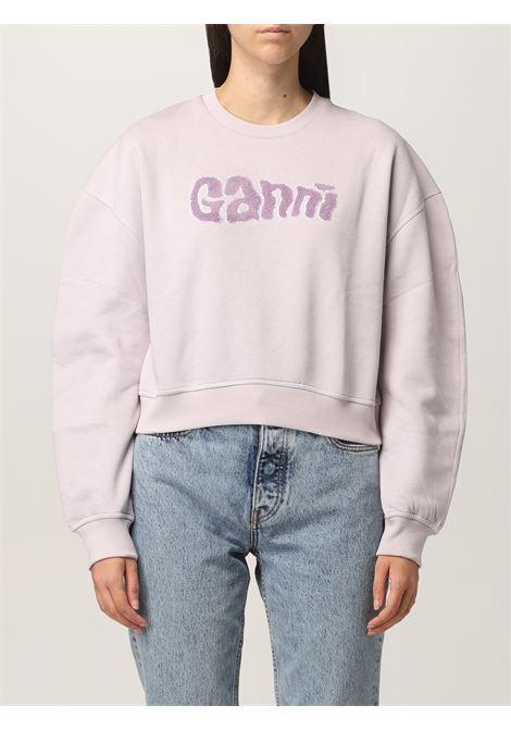 felpa lilla a maniche lunghe con logo Ganni GANNI | Felpe | T2977712