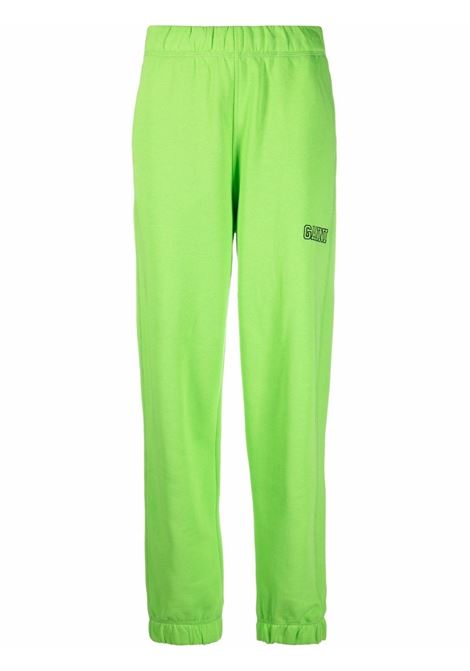 Green organic cotton track pants featuring Ganni embroidered logo  GANNI |  | T2991783