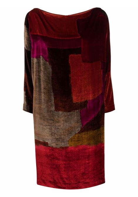 red multicoloured Nathalie velvet shift dress   GIANLUCA CAPANNOLO |  | 21IA105-450 NATHALIEMULTICOLOR