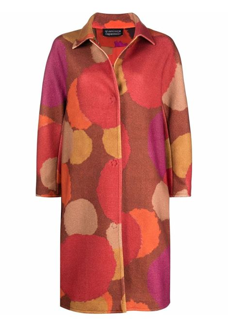 Cappotto monopetto in  lana vergine multicolore con stampa a pois GIANLUCA CAPANNOLO | Cappotti | 21IM350-150 KIM94/101/121