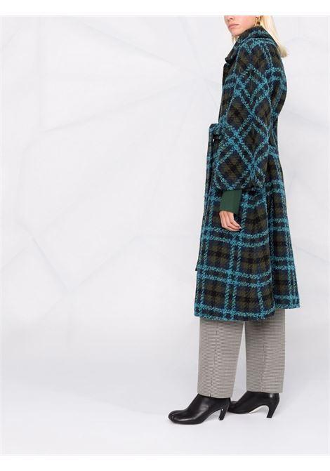 Blue virgin wool tartan mid-length coat  GIANLUCA CAPANNOLO |  | 21IM401-250 NICOLE24