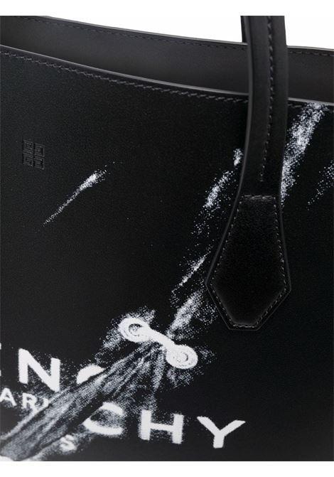 Borsa shopping in pelle di vitello nera con logo Givency in  trompe-l'œil GIVENCHY | Borse tote | BB50HBB14K-WING001