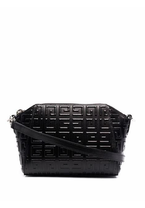 borsa nera in pelle Antigona Mini con logo 4G in rilivelo all over GIVENCHY | Borse a tracolla | BB50HGB144-ANTIGONA XS001